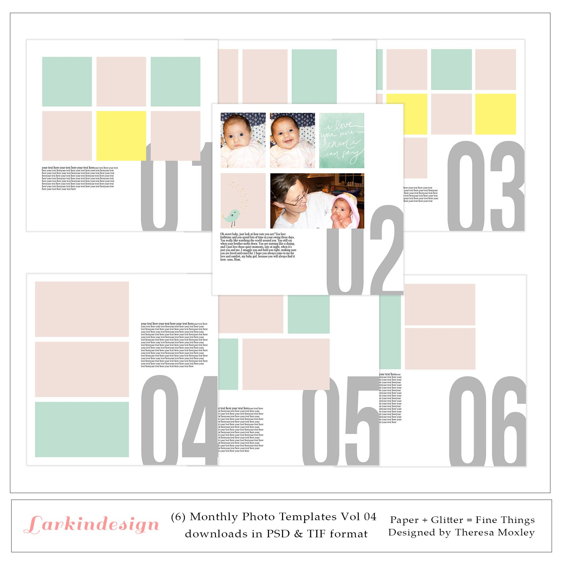 1800 12x12 Monthly Photo Templates Preview